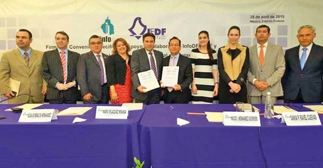 Firman INFODF e IEDF convenio para fortalecer cultura de transparencia
