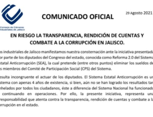 En riesgo la transparencia, rendición de cuentas y combate a la corrupción en Jalisco.